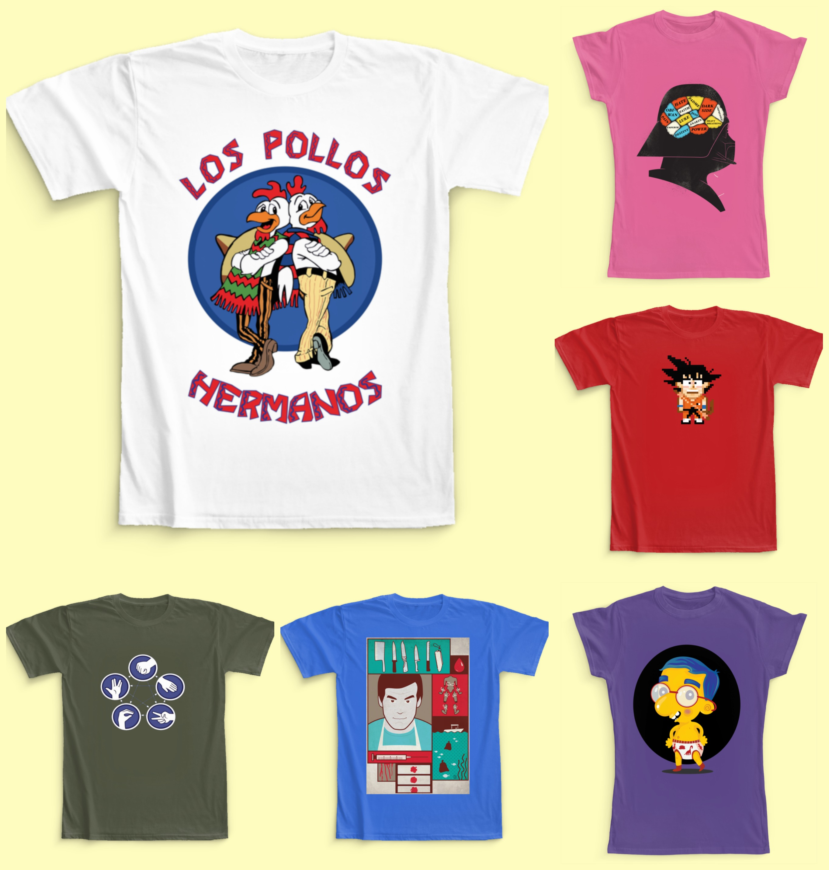 camisetas de cine, camisetas de series, merchandising series, camisetas de peliculas originales, camisetas simpaticas, camisetas para chica, camisetas para chico, camisetas para niño, breaking bad, los pollos hermanos, star wars, batman, los simpson, the big bang theory