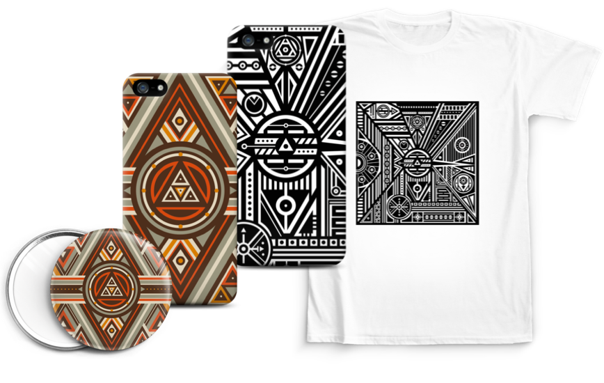 Alina Kazachuk pattern on skins, cases and tshirts