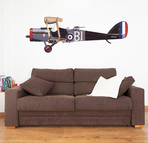 vinilos decorativos para paredes, descubre, avionetas, aviones antiguos, diseños vintage, comprar vinilos de calidad, ideas para decorar tu casa, ideas originales, creatividad, decoracion
